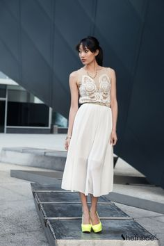 White Embroidered Chiffon Dress//