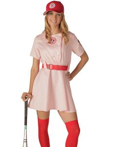 Rockford Peaches Adult Women's Costume at Spirit Halloween - You'll be in a league of your own when you wear the officially licensed Rockford Peaches adult womens costume. Hit one out of the park with this pink, uniform-inspired dress, complete with belt and baseball cap. Batter up! Make it yours for $49.99.