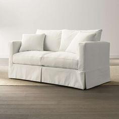 Slipcover Only for Willow Modern Slipcovered Full Sleeper Sofa + Reviews | Crate and Barrel Sleeper Sofa Mattress, Full Sleeper Sofa, Air Mattress, Sofa Beds, White Apartment, Apartment Sofa, Apartment Ideas, Apartment Furniture, Sofas For Small Spaces