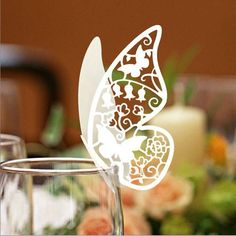 Lisasu: 30 Butterfly Paper Place Card / Escort Card / Wine Glass Card Paper for Wedding Party. $13.50, via Etsy.