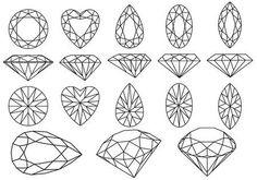 Illustration of set of diamond gemstone, vector illustration vector art, clipart and stock vectors. Juwel Tattoo, Tigh Tattoo, Shape Tattoo, Ephemeral Tattoo, Doodle Drawing, Aquarell Tattoos, Diamond Vector, Bijoux Design, Diamond Tattoos