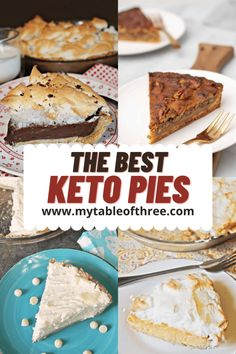 """The Best Keto Pie Recipes (THM """"S"""") - My Table of Three My Table of Three Sugar Free Desserts, Sugar Free Recipes, Low Carb Desserts, Low Carb Recipes, Tart Recipes, Yummy Recipes, Baking Recipes, Dessert Recipes, Holiday Desserts"""