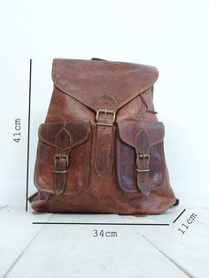 Vintage marron en cuir sac à dos / sac à dos par VintageChildShop