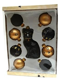 VoojoStore Black CatGold Balls 9 pc Glass Ornament Set  Unique Gift For Birthday Christmas Wedding Anniversary Engagement Graduation Couples Men Women Mom Dad Grandpa Sister Wife Husband Friends >>> This is an Amazon Affiliate link. Click on the image for additional details.