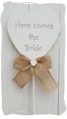 Rustic Wooden Heart 'Here Comes the Bride' Wedding Flower Girl Wand Sign on Etsy, $21.00