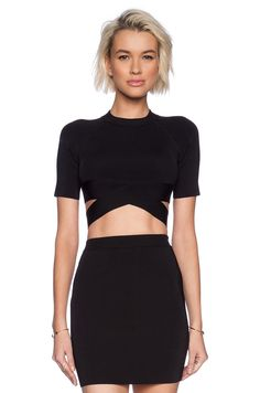 T by Alexander Wang Two Tone Criss Cross Knit Top in Black