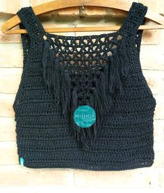 Fabulous Crochet a Little Black Crochet Dress Ideas. Georgeous Crochet a Little Black Crochet Dress Ideas. Black Crochet Dress, Crochet Crop Top, Crochet Blouse, Crochet Bikini, Débardeurs Au Crochet, Love Crochet, Crochet Stitches, Crochet Patterns, Blouse Models