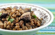 vegan barley and lentil pilaf with mushrooms and spinach