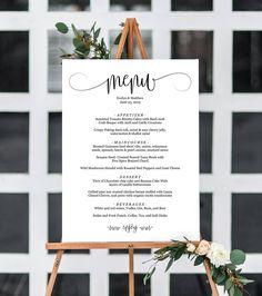 Greenery wedding menu template diy wedding menu template printable 5 sizes wedding menu signwedding menu boardwedding menu posterweding menu diywedding printablewedding signtemplatepdf instantdownload junglespirit Images