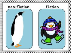 Fiction/Non-Fiction mini-anchor chart for thematic unit on penguins in kindergarten or first grade $