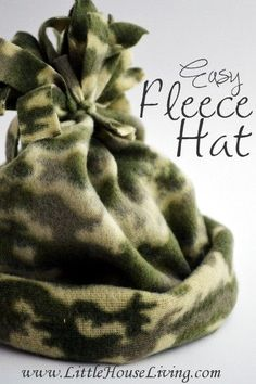 Easy Fleece Hat Pattern. So simple to make, just sew one row and that's it! Perfect little stocking stuffers.