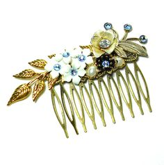 Something Blue Vintage Wedding Hair Comb by LisamariesPiece