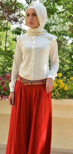 White & Red Hijab