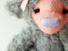 Teddy bear toy - artist teddy - stuff animal teddy - gray pink bear - home decor toy
