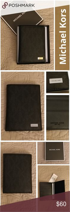 """NWT MK Jet Set Mens Passport Cardholder w/GiftBox This Jet Set Mens passport card holder from Michael Kors offers instant sophistication. It includes a passport slot and business card holder, along with credit card slots to keep you organized.  Dimensions: 4""""L x 5.5""""H x 1""""D  Interior features: 1 passport slot, 1 business card holder (up to 3 cards), 7 credit card slots, 1 top full-length billfold compartment (fits most global currencies) Leather interior  Excellent condition.  Never used…"""
