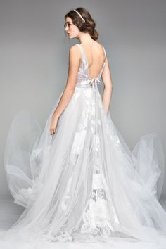Willowby by Watters Galatea 50704 Floral A-Line Wedding Dress - Off White Bride Tulle Wedding, Dream Wedding Dresses, Bridal Dresses, Wedding Gowns, Bridesmaid Dresses, Boho Wedding, Summer Wedding, Dresses Dresses, Prom Dress