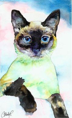 love this Meezer Watercolour  Christy Freeman   WATERCOLOR