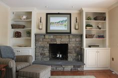 Built in Shelves around Fireplace Here's the real nitty gritty from the doer in our operation (I'm just . Bookshelves Around Fireplace, Built In Around Fireplace, Brick Fireplace Wall, Fireplace Built Ins, Home Fireplace, Bookshelves Built In, Fireplace Remodel, Fireplace Surrounds, Fireplace Design