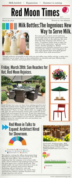 Outdoor furniture and commercial catering news, plus, the general goings on at the Red Moon offices.