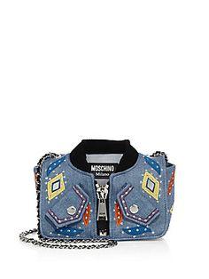 Moschino Embroidered Denim Jacket Shoulder Bag
