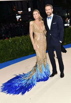 Blake Lively in Atelier Versace and Lorraine Schwartz jewelry and Ryan Reynolds