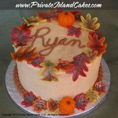 Pumpkin spice cake with pumpkin icing. Themed Birthday Cakes, Themed Cakes, Fall Theme Cakes, Cupcake Cakes, Cupcakes, Pumpkin Spice Cake, Vintage Cakes, Anniversary Cakes, Happy Fall Y'all