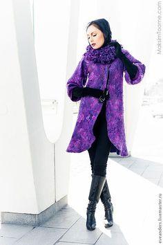 Купить Сиреневое пальто со съемным воротником - фиолетовый, ручная работа, нунофелтинг, Валяние