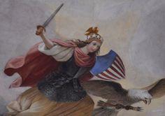 "COLUMBIA - Detail of Constantino Brumidi's ""The Apotheosis of Washington"" United States Capitol Building, Washington D.C. #VeteransDay #RemembranceDay #Athena #Minerva #Columbia #goddess #freedom #liberty #war #military #America #flag #shield #helmet #sword #eagle #bird #stars #crown #armor #symbol #art #history #painting #travel #USA #UnitedStates #Washington #DC #Nikon"