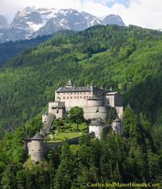 "Burg Hohenwerfen (Hohenwerfen Castle), above Werfen, Salzach Valley, Austria... www.castlesandmanorhouses.com ... The castle is surrounded by the Berchtesgaden Alps. The fortification is a ""sister"" of Hohensalzburg Castle, both dating from the 11th century. A fortification was built here between 1075 and 1078 (during the Imperial Investiture Controversy) by Archbishop Gebhard of Salzburg as a strategic bulwark."