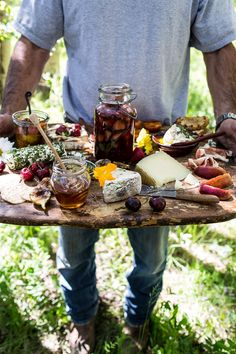 Summer Cheeseboard with Pickled Strawberries + Herb Roasted Cherry Tomatoes