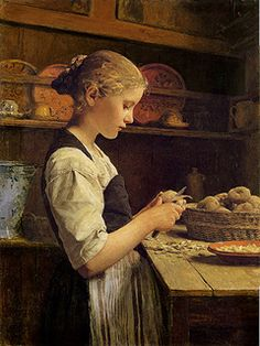 "The Little Potato Peeler (1886) by Albert Samuel Anker (1831-1910), Swiss - Anker been called the ""national painter"" of Switzerland because of his enduringly popular depictions of 19th-century Swiss village life (Plum leaves)"