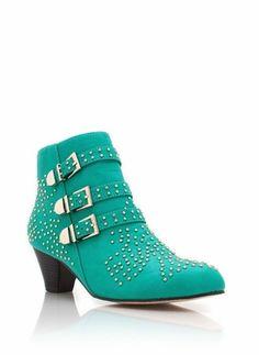 microstud buckle booties (seagreen)