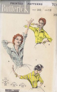 "Vintage Italian Shirt 1950s Sewing Pattern 2545 Butterick Bust 30 Hip 33"" Uncut   eBay"