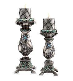 Antique aquamarine candle holder set of 2