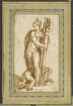 ABATE Nicolo' dell' Ecole lombarde Vertu tenant une clef de la papauté et terrassant le Vice
