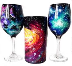 Hand painted galaxy wine glasses  Hand painted galaxy beer mug Moon and constellation wine glasses email winemecompany@gmail.com for all custom requests