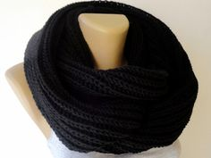 black unisex scarf knitted scarf women scarf men by senoAccessory, $35.00