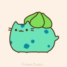 Pusheen the cat * ¡Nyan Cat (arriba)! Chat Kawaii, Arte Do Kawaii, Kawaii Cat, Gato Pusheen, Pusheen Love, Nyan Cat, Bulbasaur, Cute Pokemon, Pokemon Gif