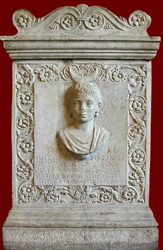 Portrait bust of Julia Victorina wearing a lunar symbol on the front of her marble funerary altar; in back she wears a radiate solar crown; on either side is carved a flowering tree (left, right). The inscription gives her age as 10. CIL 6.20727. End 1st century CE. Paris, Louvre.