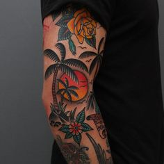 Tropical Traditional Sleeve Tropical Traditional Sleeve This image has get - Old School Tropisches Tattoo, Wald Tattoo, Tattoo Band, Leg Tattoos, Sleeve Tattoos, Tattoos For Guys, Tattoo Flash, Tatoos, Natur Tattoo Arm