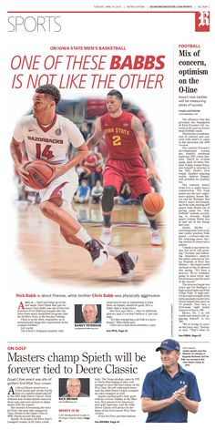 News design: April 14 Des Moines sports cover illustration.
