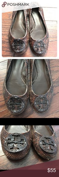 Tory Butch brown flats 7.5M snakeskin? These are perfect for Fall.  Previously loved but have lots of wear left.  GUC. Tory Burch Shoes Flats & Loafers