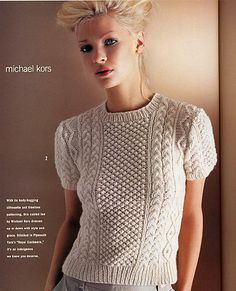 Knitting Patterns Vogue Aran Cabled Top by Michael Kors Vogue Knitting Holiday 2005 I saved this issue . Sweater Knitting Patterns, Knitting Designs, Knitting Stitches, Knit Patterns, Knitting Buttonholes, Knitting Tutorials, Loom Knitting, Free Knitting, Stitch Patterns