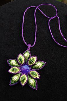 Fiber statement necklace PURPLE FLOWER with agate gemstone, cavandoli macrame necklace, handmade by ARUMIdesign. €45.00, via Etsy.