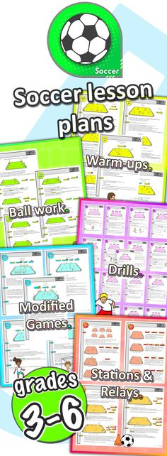 Over 45 PE soccer skill ideas, drills, ball work and games, and 6 X weekly pre-planned lessons to develop your classes' sport skills...The Elementary grades 3-6 Soccer pack has everything you need to teach!