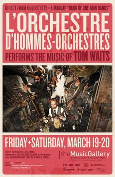 L'Orchestre d'Hommes-orchestres  •  Music Gallery poster  •  designed by jjparé  •  jjpare.tumblr.com Poster Layout, Quebec City, Layout Inspiration, Live, Gallery, Music, Design, Orchestra, Men