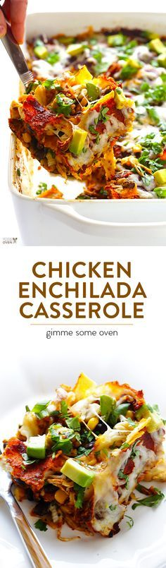 "Chicken Enchilada Casserole -- recipe for enchiladas that's made extra easy by being ""stacked"" into a casserole"