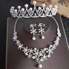 Rhinestone Earrings, Vintage Earrings, Pearl Earrings, Vintage Pearls, Vintage Rhinestone, Transparent Flowers, Bridal Jewelry Sets, Cheap Jewelry, Hair Jewelry