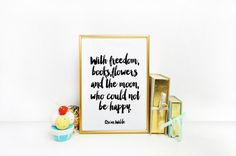 Oscar Wilde Book Quote Print Literary Poster by BlueWavesPrints