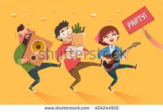 """Crowd of people going to the party. Youth lifestyle. Happy young boys and girl with guitar, loudspeaker and packages of beer, pizza and """"Party"""" placard. Colorful vector illustration in flat style"""
